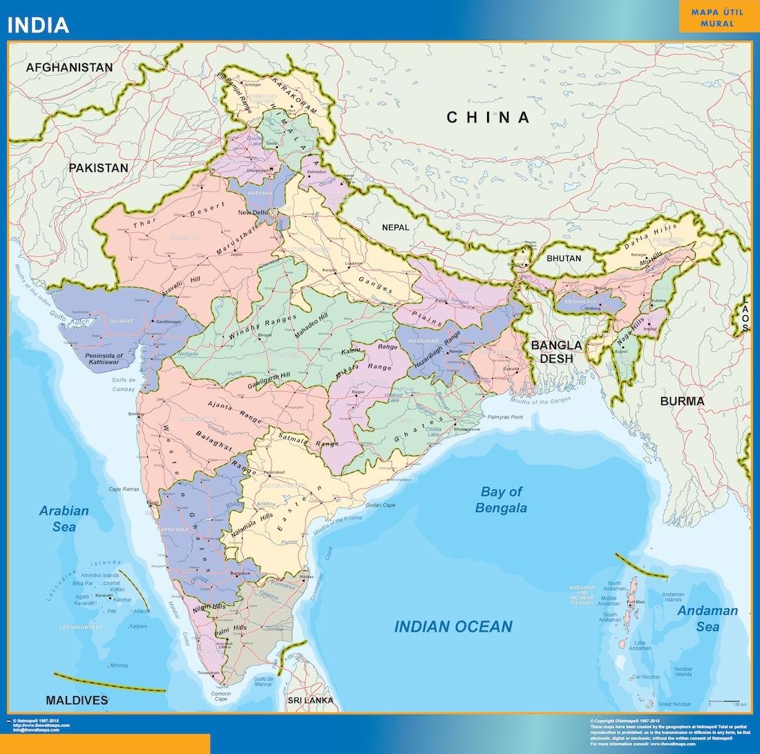 Cartina India.India Mappa Mappe Mondo Netmaps