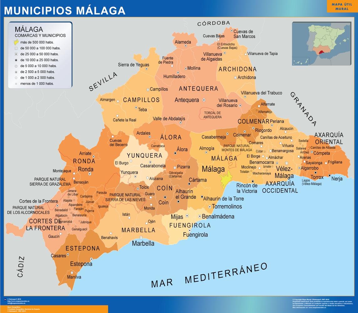 Malaga Spagna Cartina.Comuni Malaga Mappa Di Spagna Mappe Mondo Netmaps