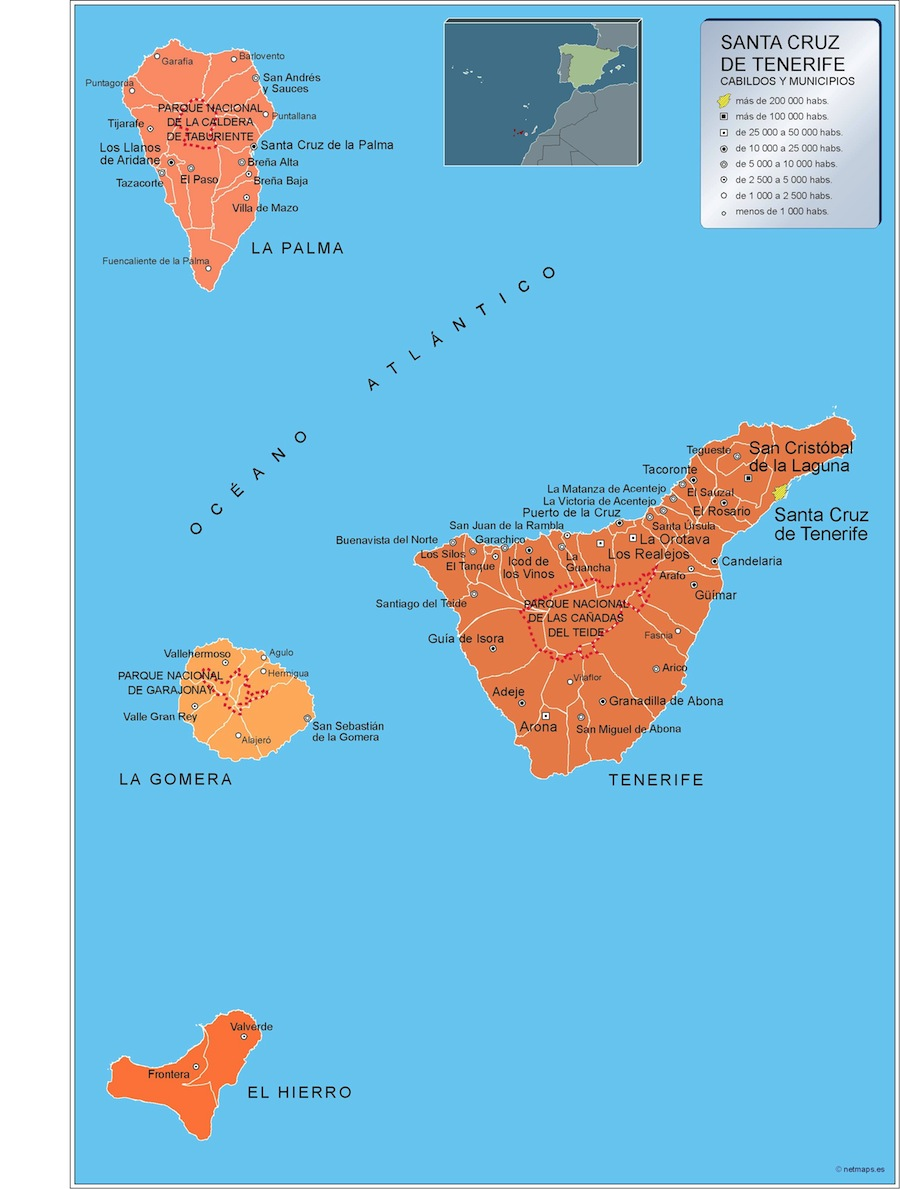 Cartina Spagna Tenerife.Comuni Tenerife Mappa Di Spagna Mappe Mondo Netmaps