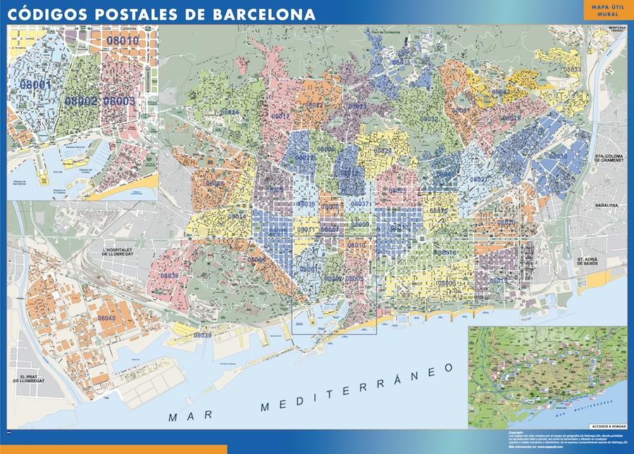 Cartina Metro Barcellona.Codici Postali Barcelona Mappa Mappe Mondo Netmaps