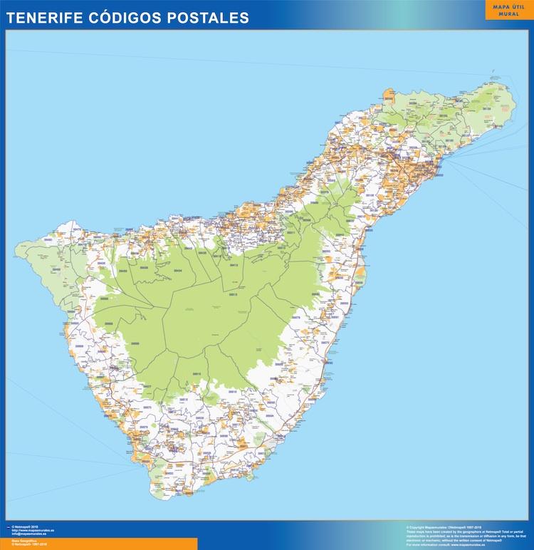 Tenerife Cartina Stradale.Codici Postali Isla Tenerife Mappa Mappe Mondo Netmaps
