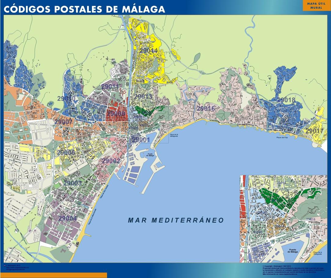 Malaga Spagna Cartina.Codici Postali Malaga Mappa Mappe Mondo Netmaps
