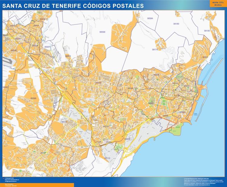 Tenerife Cartina Spagna.Codici Postali Santa Cruz De Tenerife Mappa Mappe Mondo Netmaps