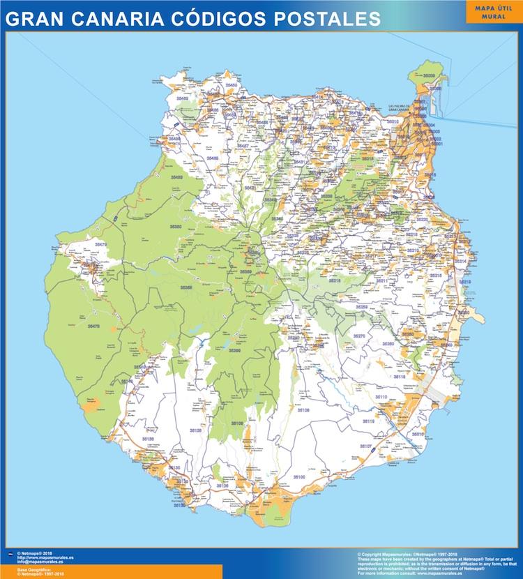 Cartina Geografica Canarie.Codici Postali Isla Gran Canaria Mappa Mappe Mondo Netmaps