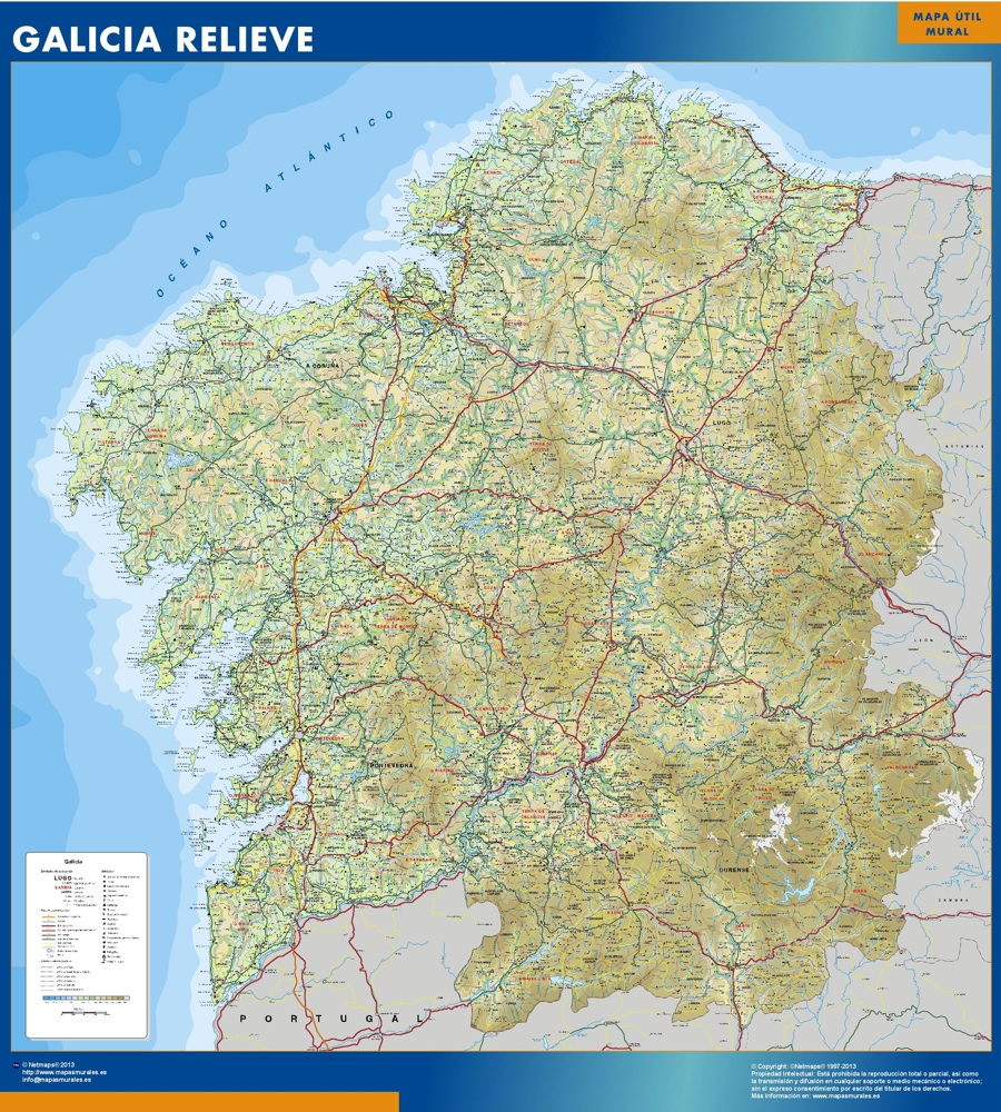Cartina Spagna Galizia.Mappa Galicia Relief Mappe Mondo Netmaps