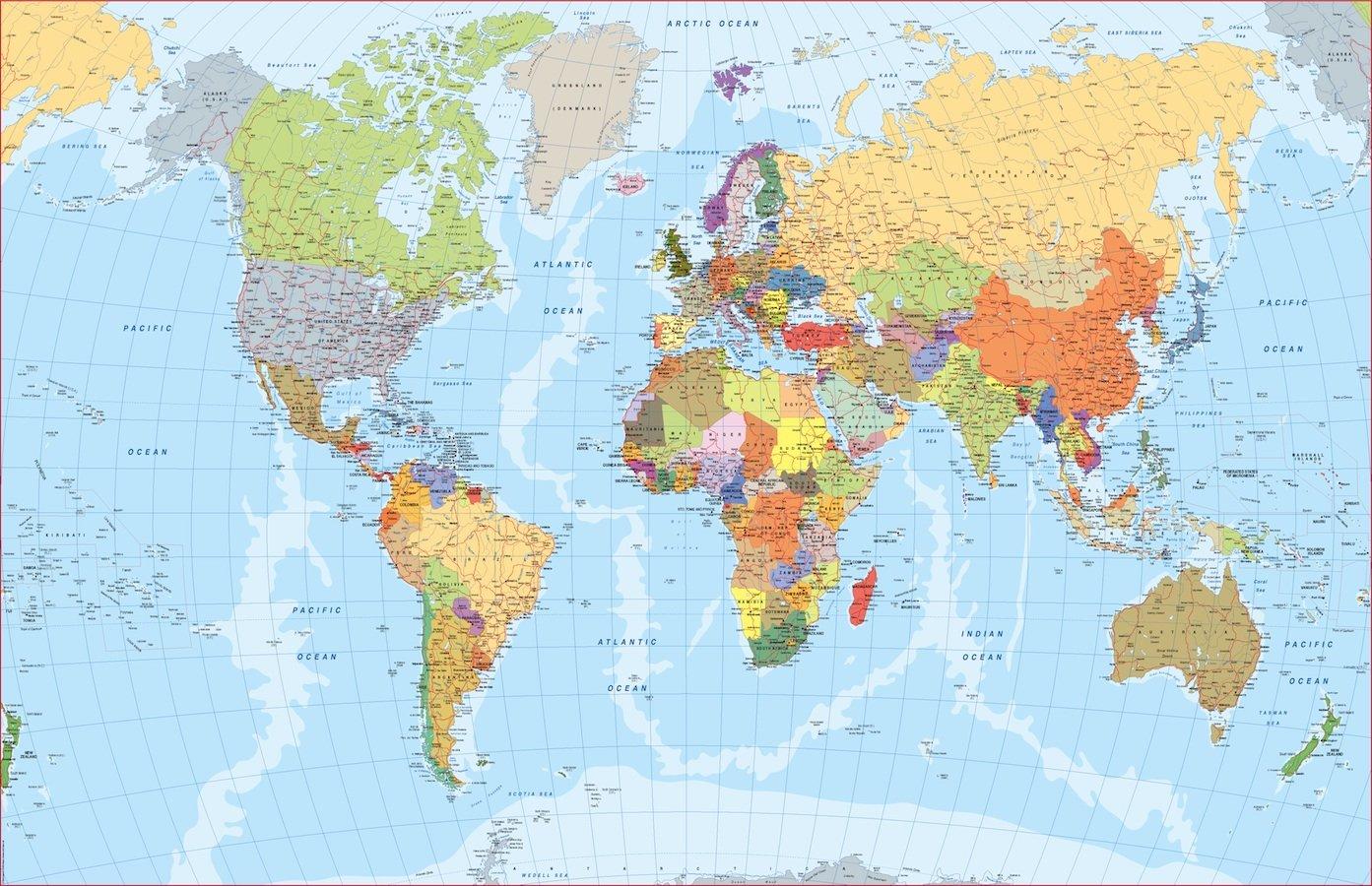 Cartina Italia In Inglese.Mappa Del Mondo Inglese Mappe Mondo Netmaps